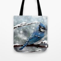 jay fleck Tote Bags featuring Blue Jay by Ben Geiger