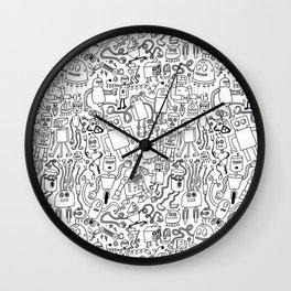 Infinity Robots Black & White Wall Clock