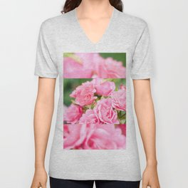 Beautiful pink roses bunch Unisex V-Neck