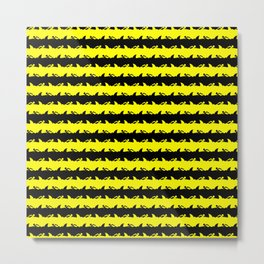 Bondi Beach Yellow and Black Shark Attack Beach Stripe Metal Print