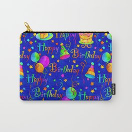 Happy Birthday Celebration with Balloons, Streamers, Cakes in Bright Colors on Blue Carry-All Pouch