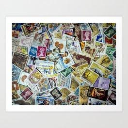 Postage Stamp Collection Art Print