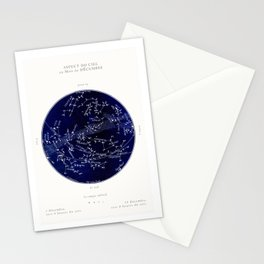 French December Star Map in Deep Navy & Black, Astronomy, Constellation, Celestial Stationery Cards