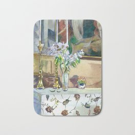 flowers and candles Bath Mat