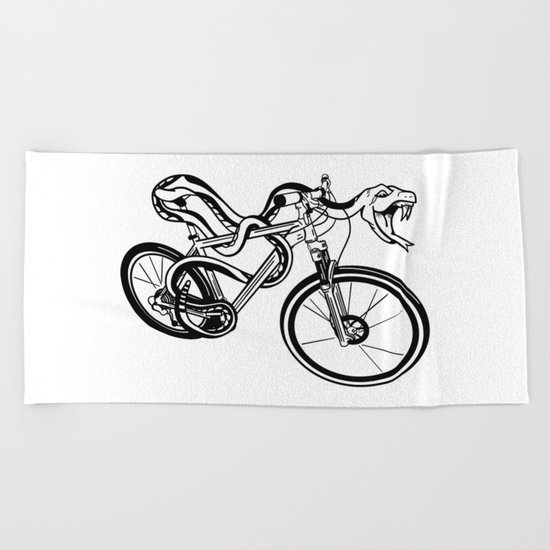 Snake Riding  A Mountain Bike Beach Towel