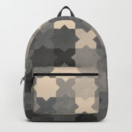 Ceramic tile seamless pattern design - Gray & Beige Backpack