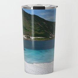 Stunning summer mountain landscape: Blue Lake, green forest on hillsides, blue sky on sunny Travel Mug