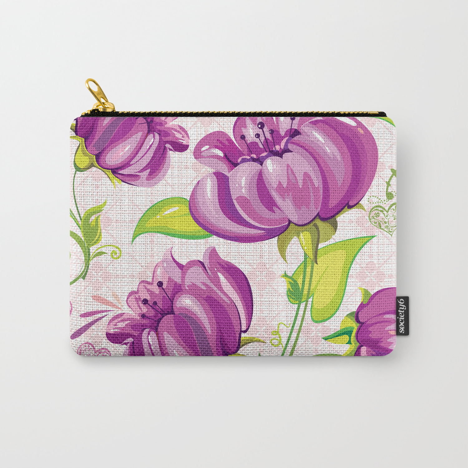 Purple Floral Wallpaper Abstract Design Carry All Pouch By