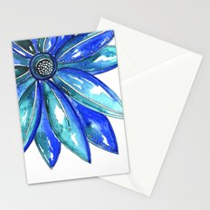 Blue Watercolor flower Stationery Cards