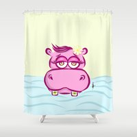 hippo Shower Curtains featuring Hippo by Azhar