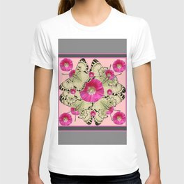 GREY & PINK HOLLYHOCK FLORAL BUTTERFLY PATTERN T-shirt