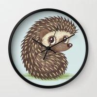 hedgehog Wall Clocks featuring Hedgehog by Toru Sanogawa
