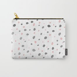 Modern pastel pink gray polka dots pattern Carry-All Pouch