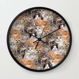 cats pattern lot of funny animals cheesy crazy Wall Clock