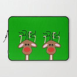 Merry Christmas Reindeer Green Laptop Sleeve