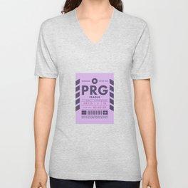Baggage Tag D - PRG Prague Czech Republic Unisex V-Neck