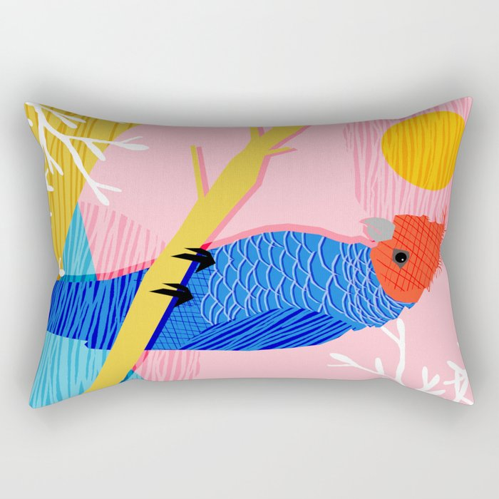 Blazin - memphis throwback tropical bird art parrot cockatoo nature neon 1980s 80s style retro cool Rectangular Pillow