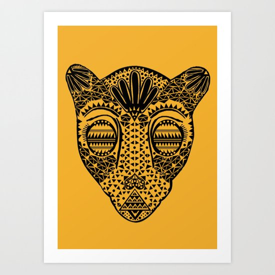 Black and Gold Jaguars Head Art Print