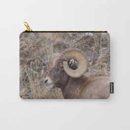Bighorn sheep eating with grass in mouth in Yellowstone National Park Carry-All Pouch