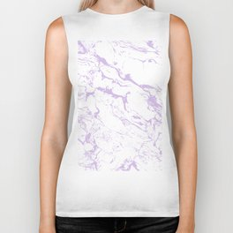 Modern trendy white pastel purple lavender marble pattern Biker Tank