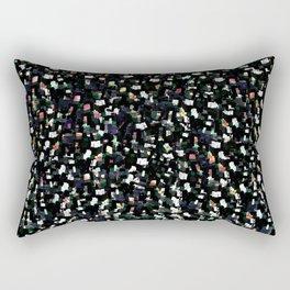 Digital Glitter: Black with Iridescent Sparkles Rectangular Pillow