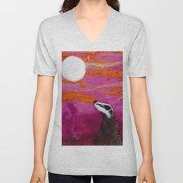 Pink Moon Badger, sunset textile art, wool painting by The Wonky Fox Unisex V-Neck
