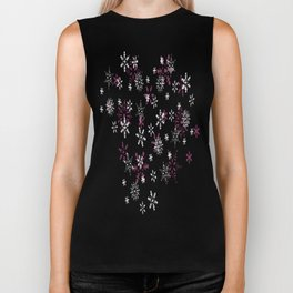 Pink and White Snowflakes With Transparent Background Biker Tank