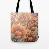 lotus flower Tote Bags featuring Lotus by Jess Moore