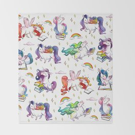 Reading Unicorn Pattern Throw Blanket