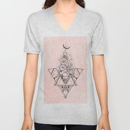 Roses in Moonlight Pink Unisex V-Neck