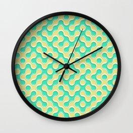 Yellow Deep Sea Green Truchet Tilling Pattern Wall Clock