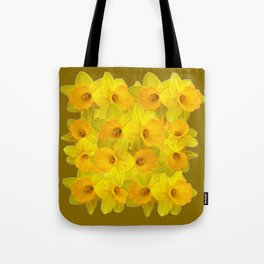 Olive Colored Golden Daffodile Floral Abundance Tote Bag