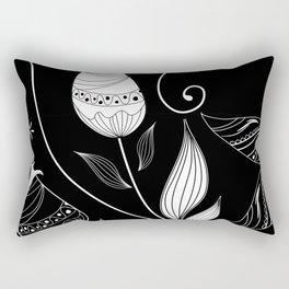 Flowers, Petals, Leaves - Black White Rectangular Pillow