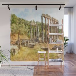 Fallen Ruins of Euromos Watercolor Wall Mural