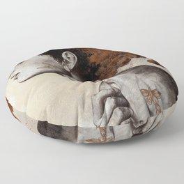 Moral Eclipse I: Rust   moth tattoo woman portrait Floor Pillow