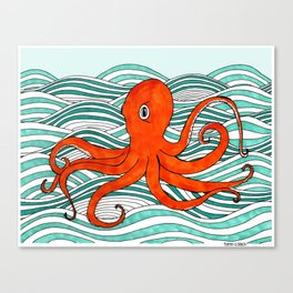The Orange Octopus Canvas Print
