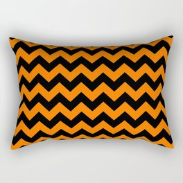 Large Dark Pumpkin Orange and Black Halloween Chevron Stripes Rectangular Pillow