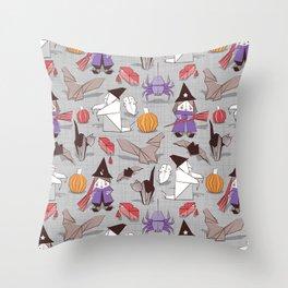 Halloween origami tricks // grey linen texture background Throw Pillow