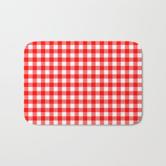 Gingham Red and White Pattern Bath Mat