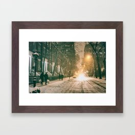 Winter - New York City - Snows Falls - Washington Square Framed Art Print