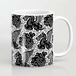 Pegasus Pattern Black and White Coffee Mug