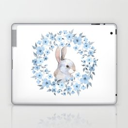 Rabbit and floral wreath. Watercolor Laptop & iPad Skin