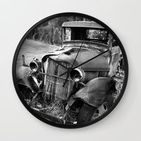 truck Wall Clocks featuring Old Truck by WhyitsmeDesign