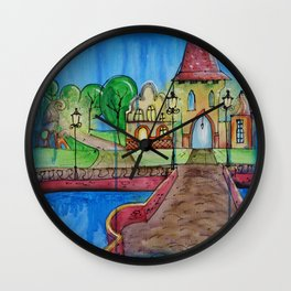 Landscape Painting Fairy town Acrylic S14 Contemporary Nursery Cityscape art for baby children kids Wall Clock