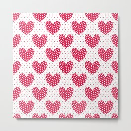 Red large hearts with white dots on a background with red dots. Metal Print