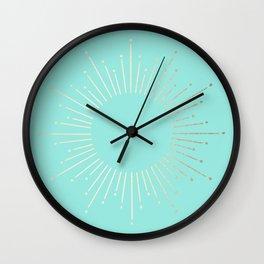 Simply Sunburst in Tropical Sea Blue Wall Clock
