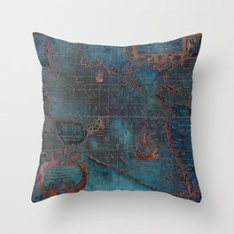 Antique Map Teal Blue and Copper Throw Pillow