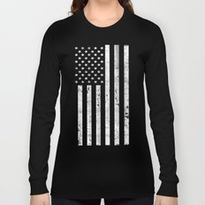 Dirty Vintage Black and White American Flag Long Sleeve T-shirt