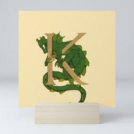 Oscar the Dragon Letter K Sans Roses Mini Art Print