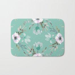 Floral Square Green Bath Mat